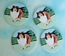 Rough Collie Dog Long Haired Set Of 4 Drink Coasters Ceramic & Cork Back