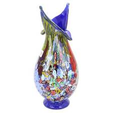 GlassOfVenice Murano Glass Millefiori Blooming Flower Vase - Cobalt Blue
