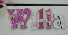 Heart & Butterfly Wooden Letter Childrens Name Door Sign (PRICE PER LETTER) Pink