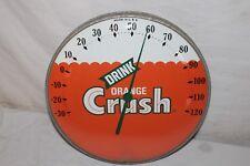 "Vintage c.1960 Orange Crush Soda Pop Gas Station 12"" Metal Thermometer Sign"