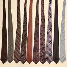 "10 Men's Ties ALL 3.25"" Skinny Slim Retro Wool Silk Cotton Mauve Vtg Tie Lot"
