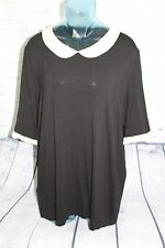 DeLuxe Peterpan Collar Top Size XL Blouse Black & Stone Womens NEW With Tags!