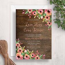 Rustic Wedding Invitation | Wood Floral Flowers Garden Vintage Elegant Country