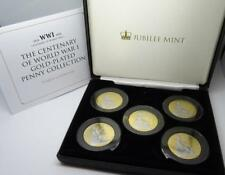 More details for scarce jubilee mint centenary of world war 1 gold plated penny collection & coa