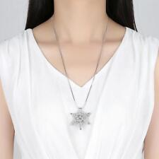 """Silver Rhodium Plated Sparkling CZ Large Snowflake Pendant 25"""" Long Necklace"""