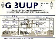 AA36 Carte QSL Radio Amateur Opérateur G3UUP en ENGLAND a LONDON