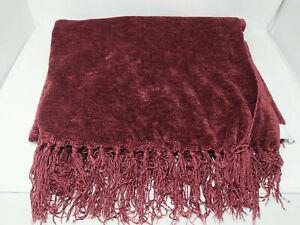 "Textillery Weaver Rose Chenille Throw Fringe Blanket 73"" x 43"" Cranberry Red VTG"