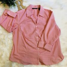 8fecb9bd8 Zac & Rachel Women's pink striped button Front Career Shirt top plus size  2XL