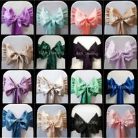 SATIN SASH CHAIR BOW 1-100 WIDER SASHES FULLER BOWS 23cm WEDDING 30+ COLOURS UK