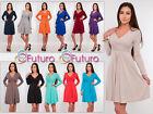 Classic & Sensible Women's Dress V Neck Long Sleeve Tunic Sizes 8-18 Y8467