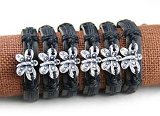 6pcs Fashion fake bone butterfly Leather Bracelet