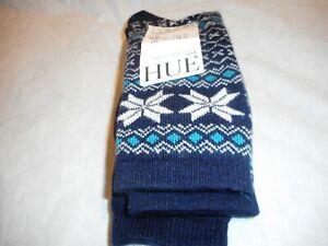 N/W/T  2 Pair Women's Hue Fairisle Tipped Navy Multicolor Boot Sock SIZE O/S