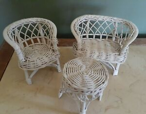 Vintage Dollhouse Doll Furniture White Wicker  Loveseat + Chair + Coffee Table