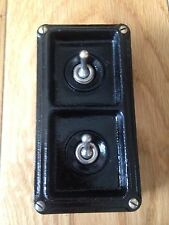 Vintage Industrial 2 Gang Britmac Light Switch Restored Working Perfect