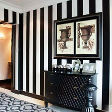 Black White Stripe Wall Paper Stripes Textured Designer Feature Wallpaper Rolls