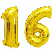 """Giant 16th Gold Number Balloon 40"""" Premium Quality Latex Birthday Parties"""
