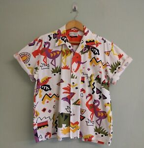 """Vintage 80's-90's Mens Funky Pattern Bold Colourfull Short Sleeves Shirt M-46"""""""