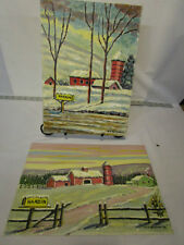 2 vintage original oil paintings Barns on canvas foundation board 10x14 signed