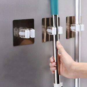 4pcs Adhesive Multi-Purpose Hooks Organizer Holder Rack Brush Broom Hanger Hook