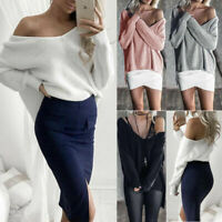 Sweater Knitted Jumper Casual Sleeve Pullover Blouses Women Long T-shirt Tops