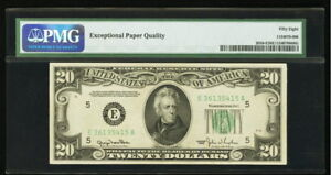 Misaligned Back Printing Error $20 1950 Federal Reserve PMG Choice About Unc 58