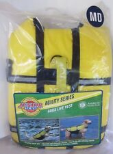 "AKC Dog Life Jacket, Yellow Aqua Vest Agility Series MD Medium 12-14"" 12-17 lbs"