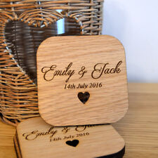 Individual Personalised Rounded Square Wooden Coasters Any Wording Bespoke Order
