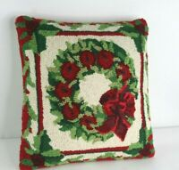 """Handcrafted 100% Wool Hook Christmas Wreath Pillow Zippered 16"""" Square"""