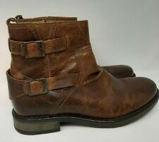 River Island Mens Leather Chelsea Boot UK 8 Tan Zip Down Double Buckle Strong
