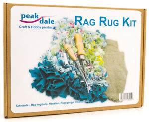 Rag Rug kit, makes 1m rug upcycling recycling craft tool hessian instructions