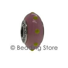 NEW Pandora Seeing Spots Pink Lime Green Murano Glass Charm Rare 790625 79625