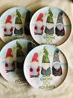 GNOME Christmas Melamine Plates Set of 4 11'  GNOME FOR THE HOLIDAYS