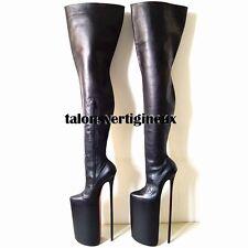 Full genuine leather thigh high boots extreme high heels 40 cm (25 cm platform)