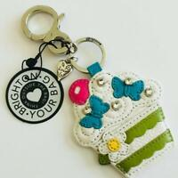 NWT Brighton SWEET CAKES Multi Leather Handbag Fob Keychain $50