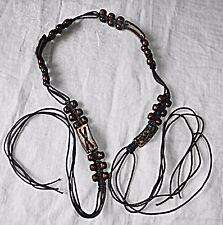 "VINTAGE ""UNISEX"" stringa di Cocco Perlina Brown BELT Boho Hippy Festival 1a Wear"