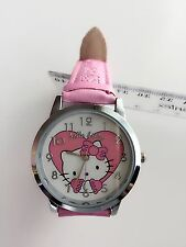 Girl Kid Children Pink Hello Kitty Heart Syn Leather Wrist Watch Christmas Gift