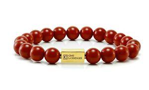 Mens Red Jasper Bracelet-Essential 24k Gold Bead Bracelet-man Beaded bracelet