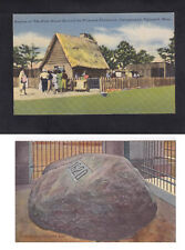 Vintage Postcard Lot MA - PLYMOUTH Rock 1620 & Replica of First House