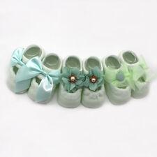 3 pairs Baby Girl Flower Princess Style Anti-slip Socks Bow Lace Boat Floor Sock