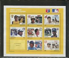 Grenada Major League Baseball MLB Players Postage Stamp Sheet of 9     Cert.3051