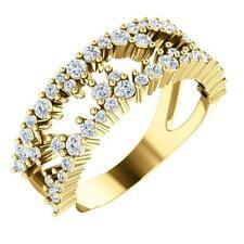14k Yellow Gold Diamond Negative Space Ring Size 7