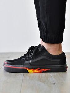 Vans Old Skool Skate Shoes Size 12 Black Flame Wall
