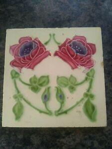art deco flower square wall tile