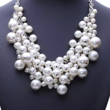 BIG CHUNKY CHOKER.STATEMENT BIB LAYERED PEARL WHITE LADIES VINTAGE NECKLACE