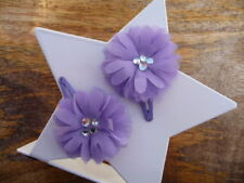 New Girls accessories - Flower hair clips - Purple (small)
