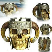 3D Skull Cup Beer Tea Coffee Beverage Stainles Steel Mug Viking Warrior Skull AU