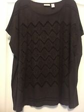 Chico's Sz 16 Dark Chocolate Faux Suede Short Sleeve Top W/ Cutouts In Front!