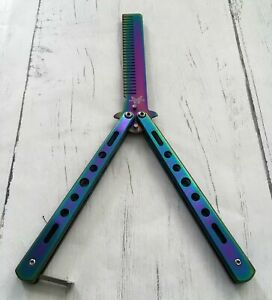 Iridescent Rainbow Practise Balisong Trainer Spring Latch Butterfly Comb