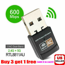 600Mbps Wireless USB Ethernet PC WiFi AC Adapter Lan 802.11 Dual Band 2.4G/5G rr
