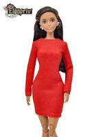 ELENPRIV FA004 red jersey mini-dress for Barbie Pivotal, MTM, Curvy dolls